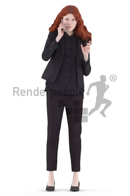 3d people business, white 3d woman standing and discussing
