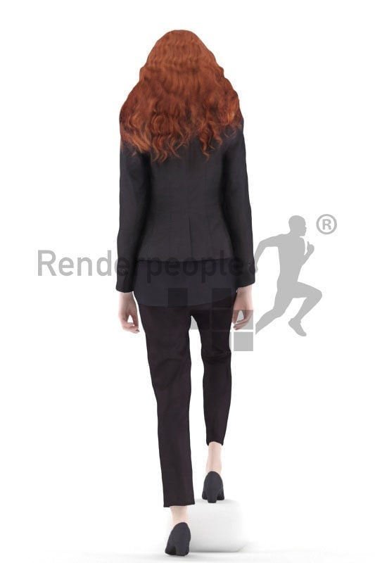 3d people business, white 3d woman walking climbing stairs