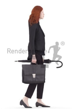 3d people business, white 3d woman walking carrying umbrella and bag