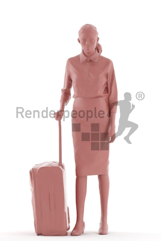 3d people business, white 3d woman standing and carrying trolley