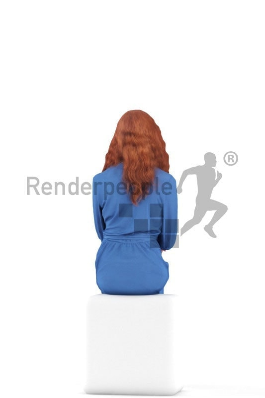 3d people event, white 3d woman sitting