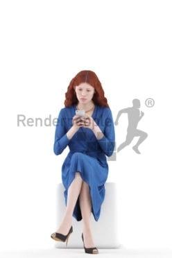 3d people event, white 3d woman sitting and holding a smartphone