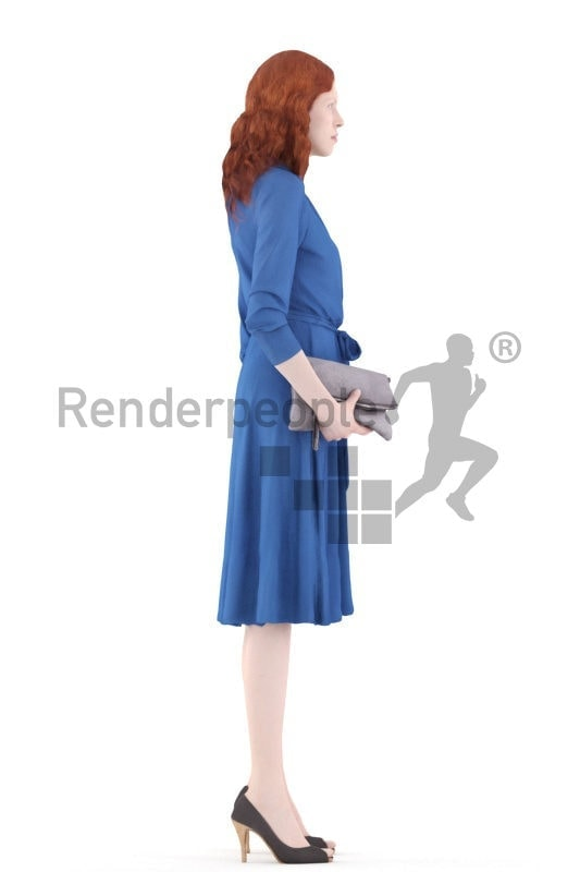 3d people event, white 3d woman standing holding a clutch
