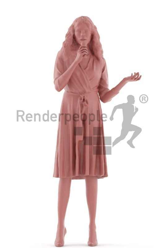 3d people event, white 3d woman standing and entertaining