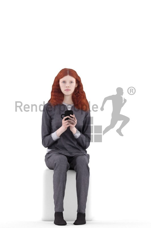 3d people sleepwear, white 3d woman sitting and holding mug