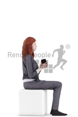 3d people sleepwear, white 3d woman sitting and holding mug