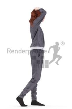 3d people sleepwear, white 3d woman walking