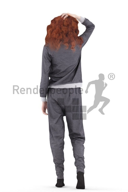3d people sleepwear, white 3d woman walking