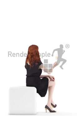 Photorealistic 3D People model by Renderpeople – european woman in red hair in chic event dress, sitting and drinking champagne