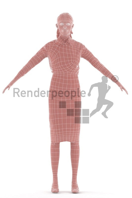 Rigged 3D People model for Maya and 3ds Max – european woman with red hair, business outfit