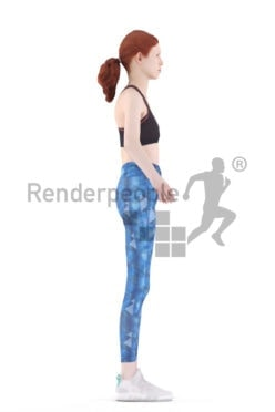 Rigged and retopologized 3D People model – european woman with red hair, workout/sports