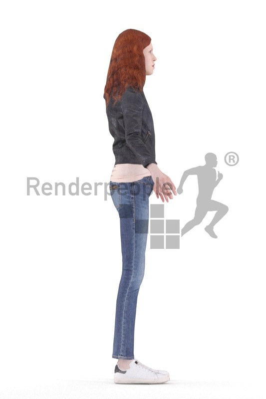 Rigged human 3D model by Renderpeople – european female with red hair in casual clothes