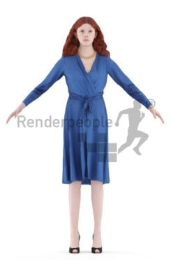 Rigged human 3D model by Renderpeople – european woman with red hair, event dress