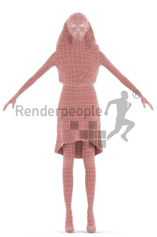3d people event, rigged woman in A Pose