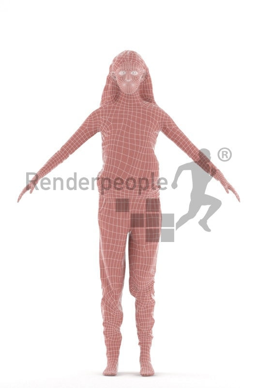 Rigged 3D People model for Maya and 3ds Max, white woman, sleepwear