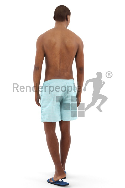 3d people beach, black 3d man wearing board shorts