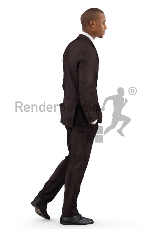 3d people business, black 3d man wearing a suit and carrying a laptop