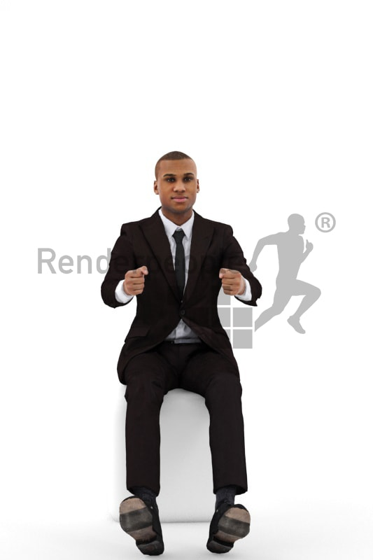 3d people business, black 3d man wearing a suit and driving
