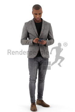3d people business, black 3d man wearing a suit and typing on his phone