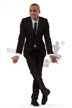3d people business, black 3d man wearing a suit and leaning over