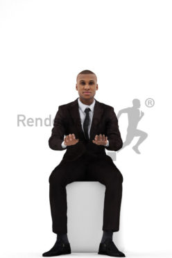3d people business, black 3d man wearing a suit and typing