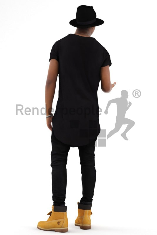 3d people casual, black 3d man wearing a hat