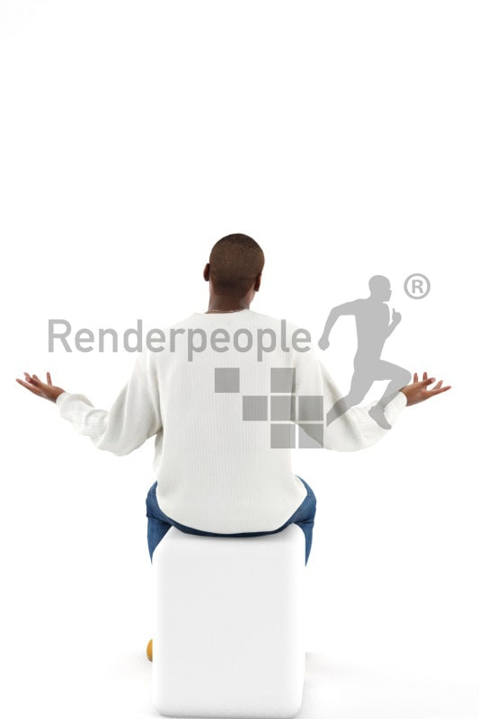 3d people casual, black 3d man sitting and talking