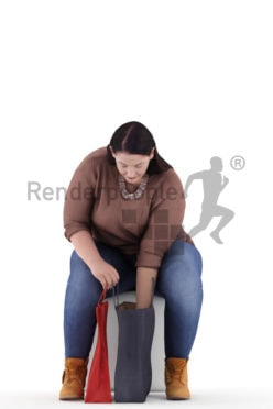 3d people casual, white 3d woman sitting and reaching into her shopping bags