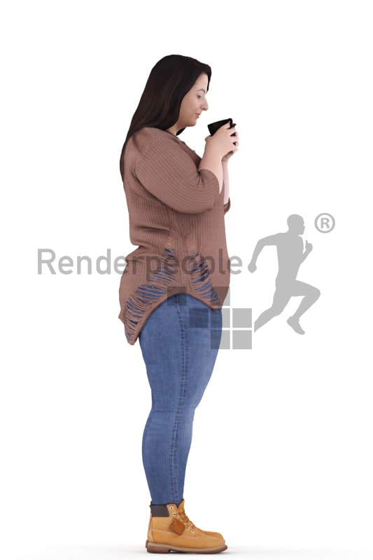 3d people casual, white 3d woman standing and drinking
