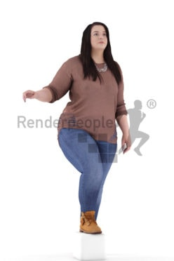 3d people casual, white 3d woman walking upstairs