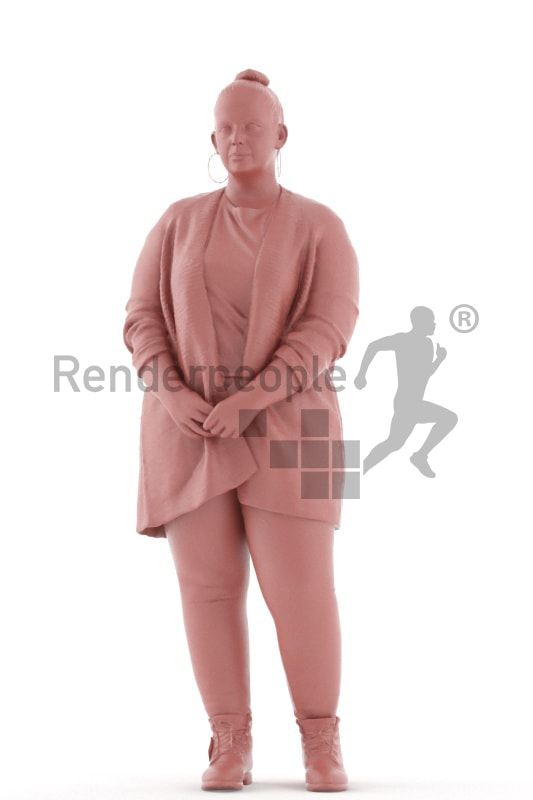 3d people casual, white 3d woman standing and waiting