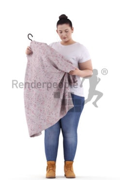3d people casual, white 3d woman standing and looking at cloth