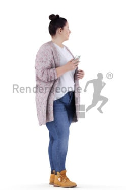 3d people casual, white 3d woman walking and calling