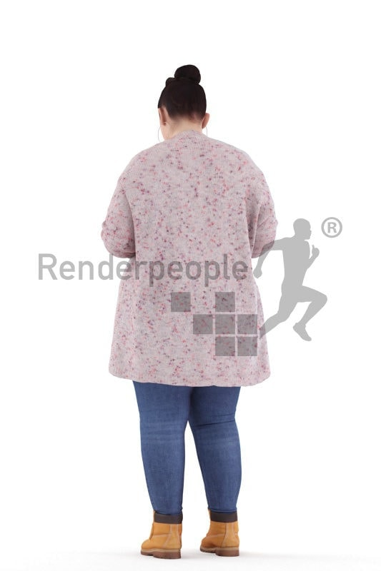 3d people casual, white 3d woman standing and reading book