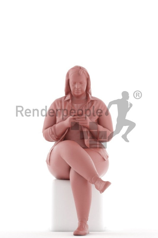 3d people casual, white 3d woman sitting and holding smartphone