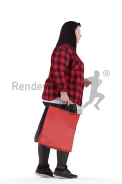 3d people casual, white 3d woman walking and shopping