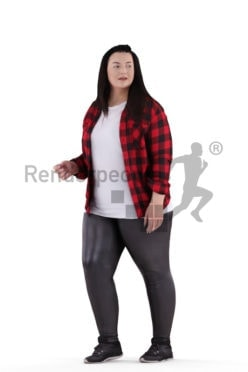 3d people casual, white 3d woman walking