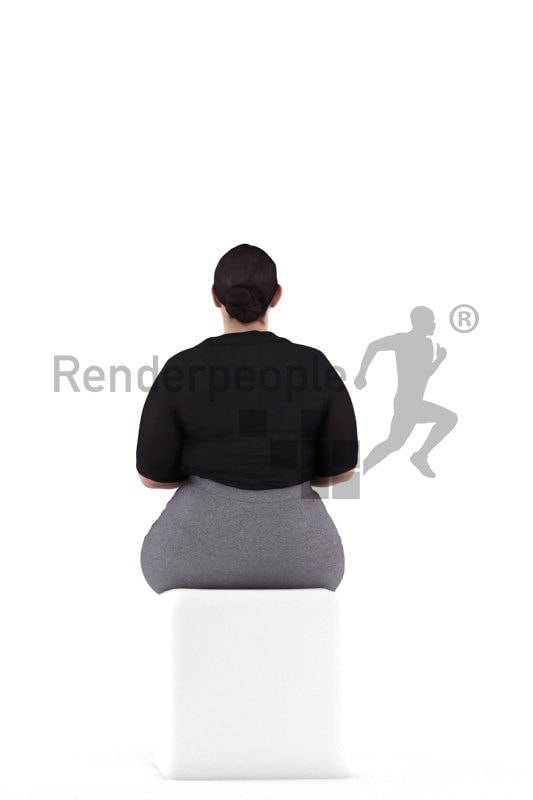3d people business, white 3d woman typing