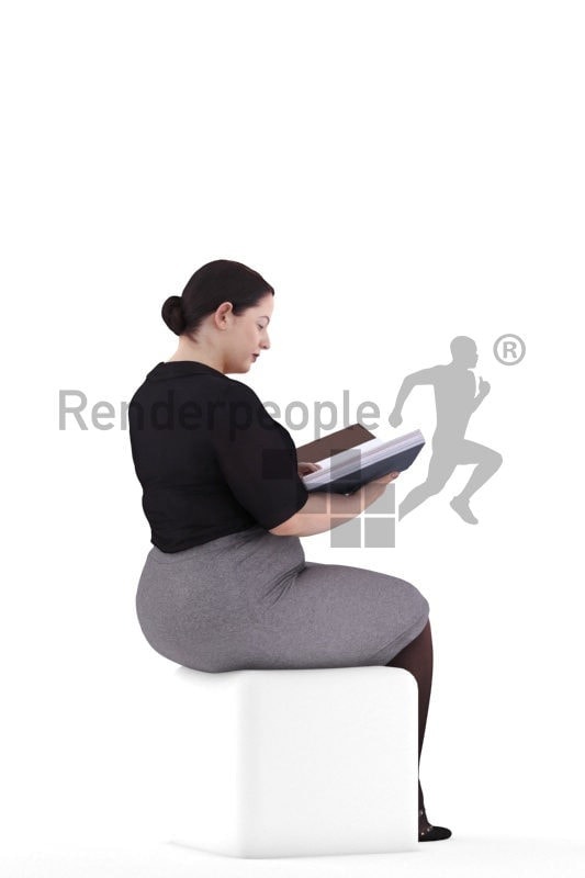3d people business, white 3d woman reading