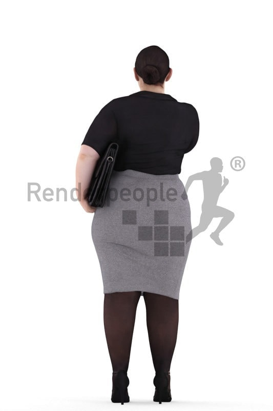 3d people business, white 3d woman handshaking