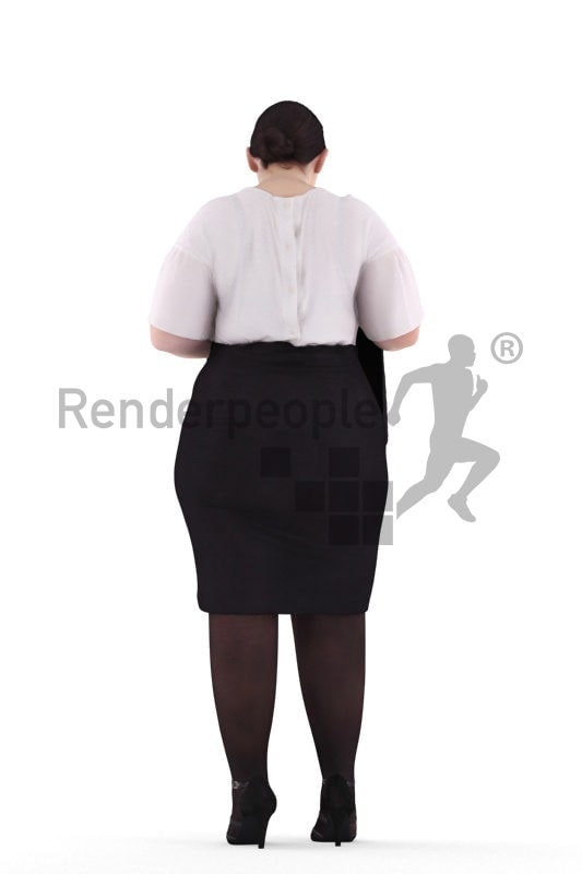 3d people business, white 3d woman searching briefcase