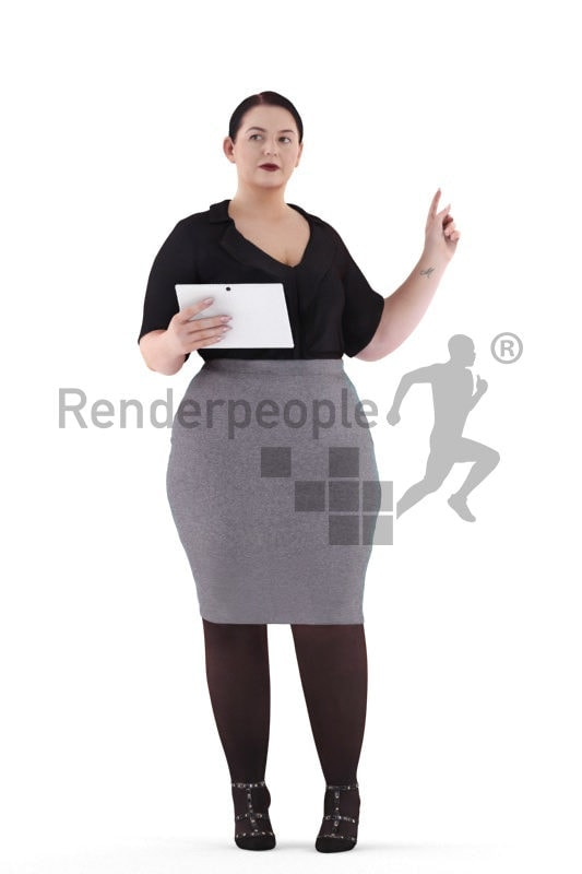 3d people business, white 3d woman pointing at something