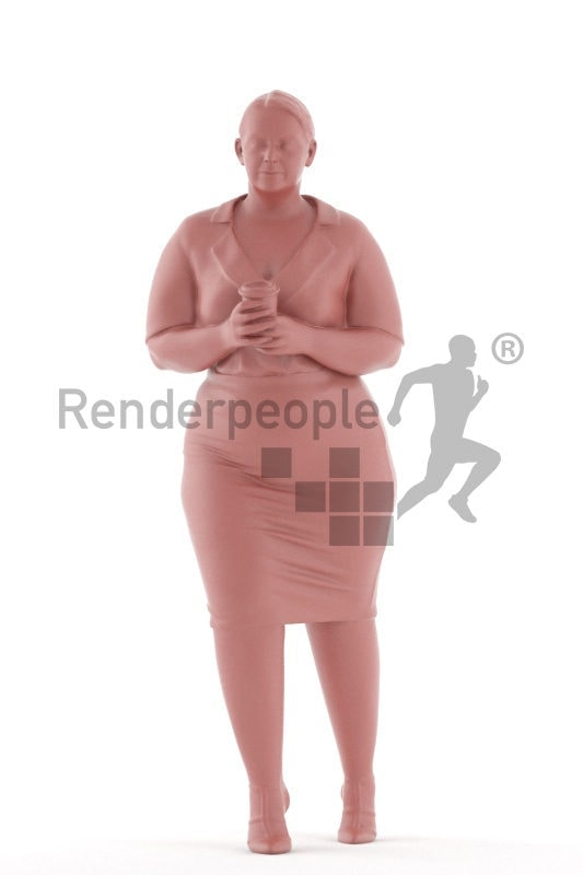 3d people business, white 3d woman holding coffee cup