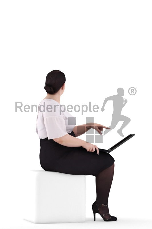 3d people business, white 3d woman sitting and pointing at laptop