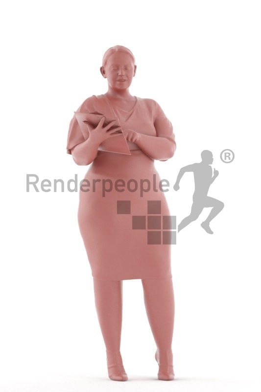 3d people business, white 3d woman standing and holding clipboard