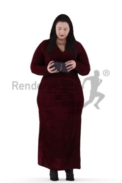 3d people event, white 3d woman standing and holding purse