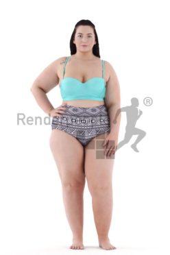 3d people swimwear, white 3d woman standing