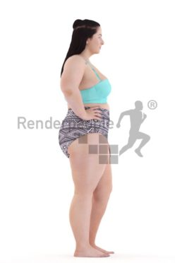 3d people swimwear, white 3d woman standing