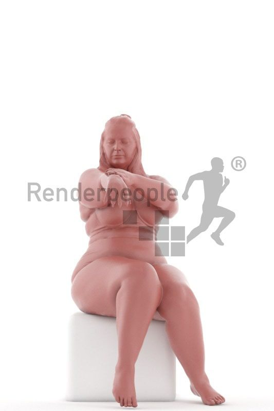 3d people swimwear, white 3d woman sitting and applying lotion