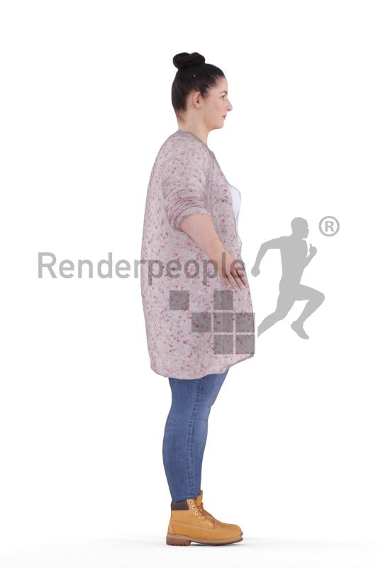 Rigged 3D People model for Maya and Cinema 4D – european woman in a casual cardigan